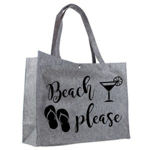 Vilten shopper Beach Please zwart