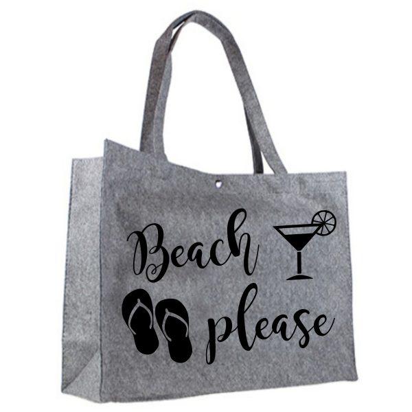 Vilten shopper Beach Please zwart