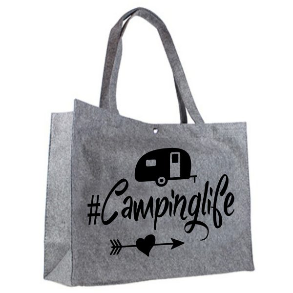 Vilten Shopper Camping life zwart
