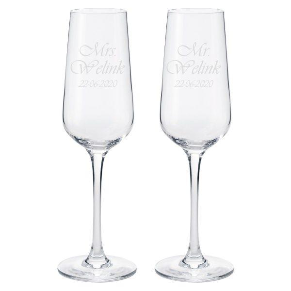 Champagneglazen set Mr & Mrs