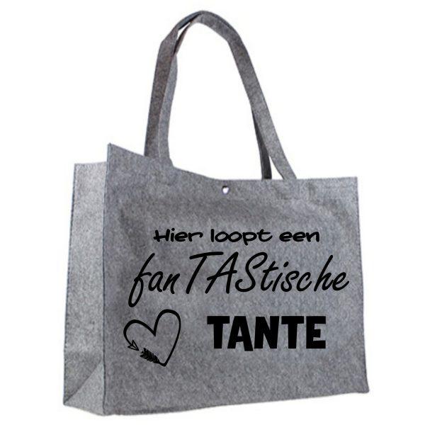 Vilten shopper fanTAStische tante zwart