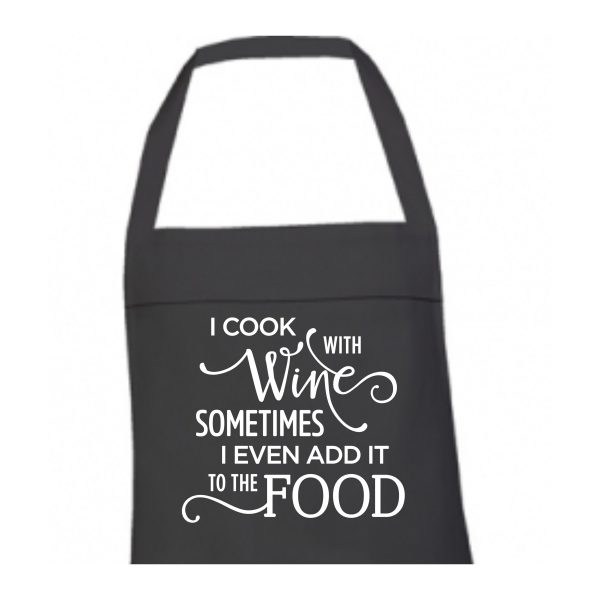 Schort I cook with wine zwart 1