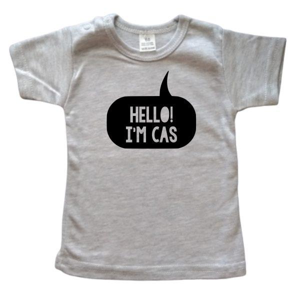 Shirt Hello I'm grijs