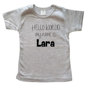 Shirt Hello World grijs