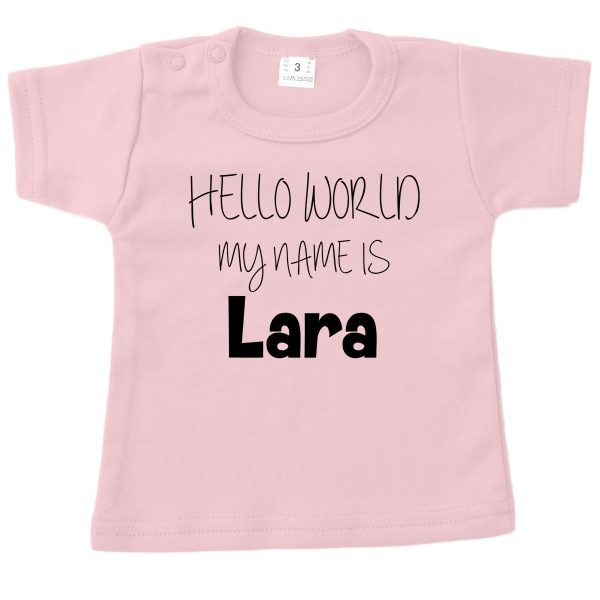 Shirt Hello World roze